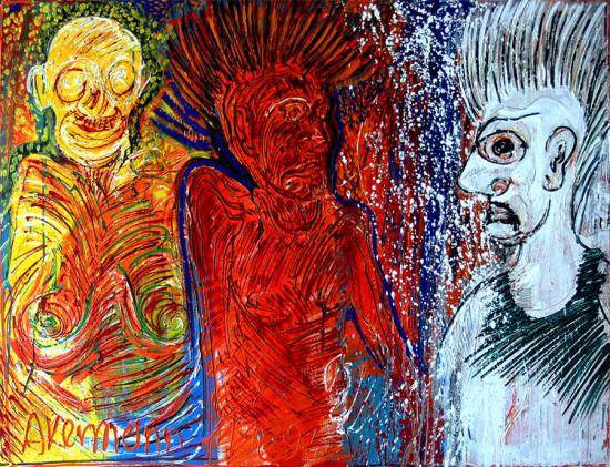 """Janusz Akermann """"Ludzie Jarocina"""", 1989, olej na płótnie, wymiary 100x120 cm"""