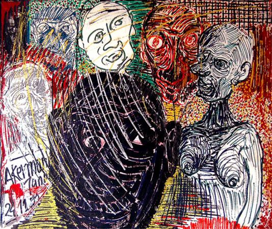 """Janusz Akermann """"Rozmowa, Jarocin"""", 1989, olej na płótnie, wymiary 100x120 cm"""