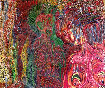 """Janusz Akermann """"Ja"""",1990r. olej na płótnie, wymiary  100 x 120 cm"""