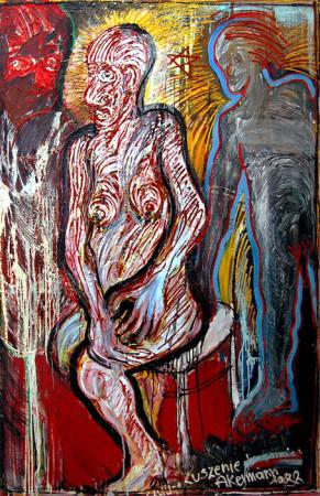 """Janusz Akermenn, """"Kuszenie"""", 1988, olej na płótnie, wymiary ?"""