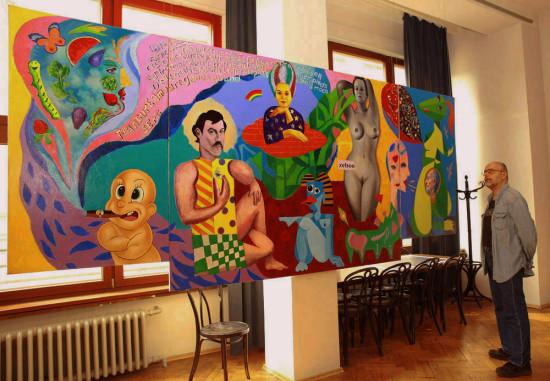 """Marek Kamieński, """"Pamięci Piotra i Pawła"""", fotografia z autorem obrazu, / obraz jest inspirowany słynnym dziełem Paul Gauguin'a,  """"Skąd przychodzimy? Kim jesteśmy? Dokąd zmierzamy?"""", i jest hołdem złożonym Mistrzowi."""