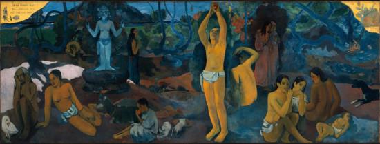 """Paul Gauguin,  """"Skąd przychodzimy? Kim jesteśmy? Dokąd zmierzamy?"""",1897-1898, olej na płótnie, 139.1 x 374.6 cm,"""