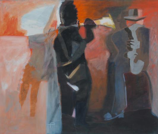 """Teresa Pągowska """"Jazz"""", 1987/2002, tempera, akryl na płótnie, wymiary 135x160 cm, na odwrocie g.fl. TERESA PĄGOWSKA 87/02/ Jazz/ 135x160, T.Pągowska, na blejtramie naklejka D'Arte Helsinki, / kat. 60 // NIEDOSTĘPNY"""
