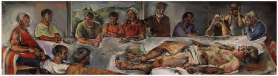 """Beata Bigaj """"Czym jest prawda"""",  2003, olej na płótnie, poliptyk, wymiary 4x160x150cm, / obraz jest reprodukowany w katalogu """"Beata Bigaj malarstwo-grafika"""", Kraków 2006"""