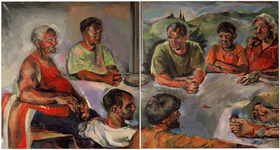 """detal,  """"Czym jest prawda"""", 2003, olej na płótnie, wymiary 2x160x150cm, część 1 i 2"""