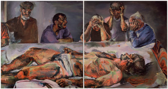 """detal,  """"Czym jest prawda"""", 2003, olej na płótnie, wymiary 2x160x150cm, część 3 i 4"""