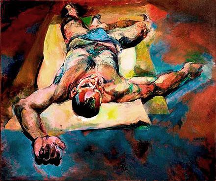 """Beata Bigaj """"Dialog z Dalim"""",  2002/2003, olej na płótnie, wymiary  125x150 cm, / obraz jest reprodukowany w katalogu """"Beata Bigaj Obrazy"""", Narodowe Centrum Kultury, Kraków 2009"""