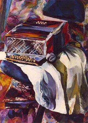 """Beata Bigaj """"Martwa natura z harmonią"""",  2000, olej na płótnie, wymiary 110x81 cm"""