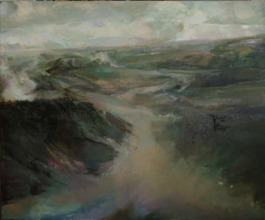 """Beata Bigaj """"Krajobraz z mgłą"""",  2014, olej na płótnie, wymiary 100x120 cm, /19"""
