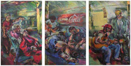 """Beata Bigaj """"Metro"""", 2004, olej na płótnie, wymiary  3x200x125 cm, /2, / obraz jest reprodukowany w katalogu """"Beata Bigaj malarstwo-grafika"""", Kraków 2006"""