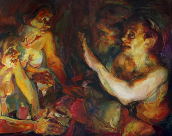 """Beata Bigaj """"Nocne debaty"""",  2016, olej na płótnie, wymiary 80x100 cm, /30"""