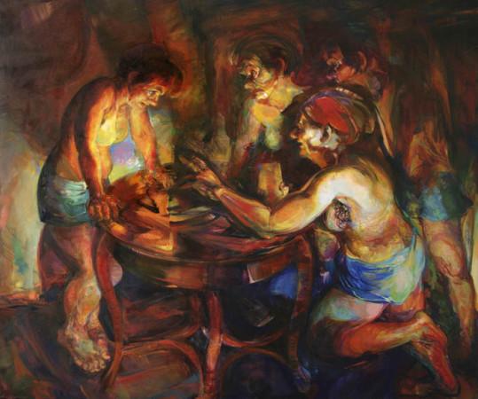 """Beata Bigaj """"Nocne rozmowy"""",  2016, olej na płótnie, wymiary 150x180 cm, /33"""