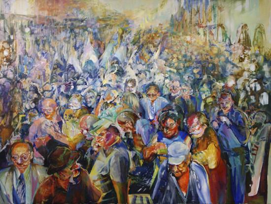 """Beata Bigaj """"Tłum"""",  2016, olej na płótnie, wymiary 120x160 cm"""