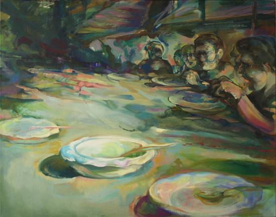 """Beata Bigaj """"Posiłek"""",  2014, olej na płótnie, wymiary 73x92 cm, /39"""