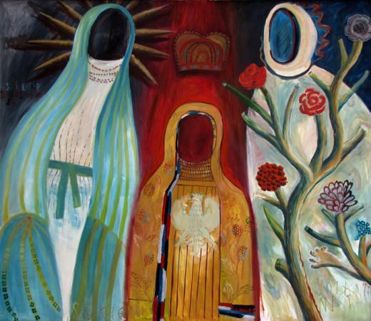 """10 Jolanta Nikt, """"Sukienki Maryjne"""", 2005, olej na płótnie, wymiary 120x140 cm"""