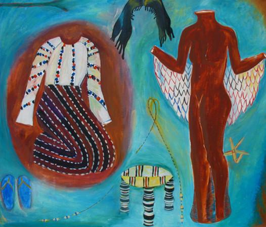 """12 Jolanta Nikt, """"Kilka sukienek i peruka"""", 2005, olej na płótnie, wymiary 120x140 cm"""