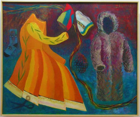 """13 Jolanta Nikt, """"Dwie czapki"""", 2015, olej na płótnie, wymiary 100x140 cm"""