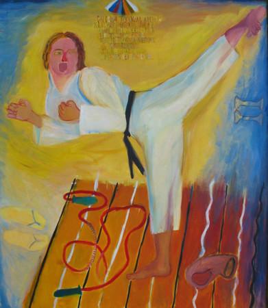 """14 Jolanta Nikt, """"Geri"""" 2004r. olej na płótnie, wymiary 100x100 cm"""
