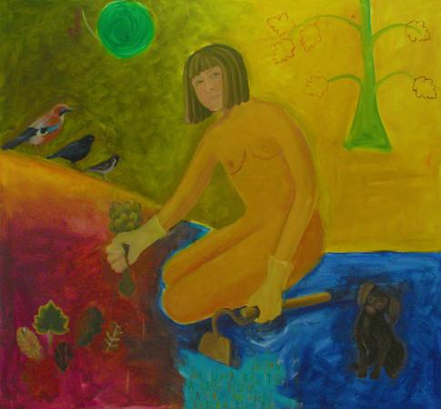 """15  Jolanta Nikt, """"Autoportret w moim ogrodzie"""", 2017, olej na płótnie, wymiary  100x140"""
