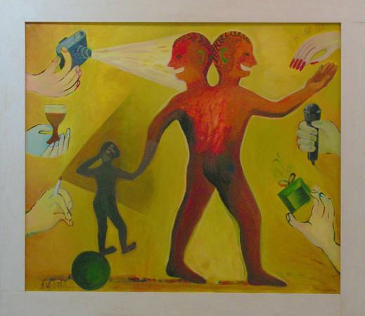 """17 Jolanta Nikt, """"Mała żona wielkiego męża"""", 2013, olej na płótnie, 100x110 cm"""