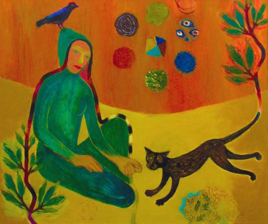 """18  Jolanta Nikt, """"Autoportret z kotką Rodzynką"""", 2007/2008, olej na płótnie, wymiary 100x120 cm"""