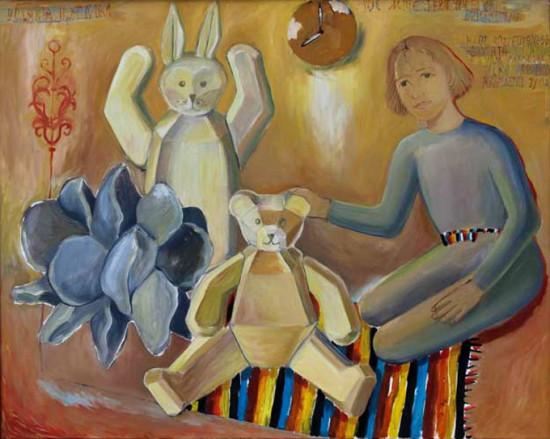 """19 Jolanta Nikt, """"We mnie jest wielkie dzieciństwo"""", 2000, olej na płótnie, wymiary 100x110 cm, / NIEDOSTĘPNY"""
