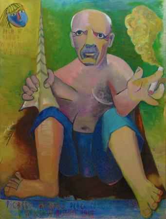 """1 Jolanta Nikt, """"Autoportret z Picassem"""", 2008, olej na płótnie, wymiary"""