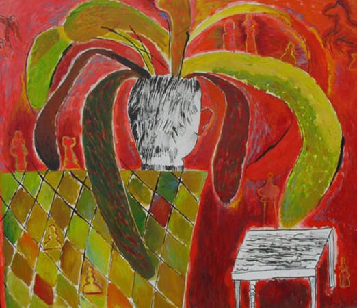 """3 Jolanta Nikt, """"Kwiatek i szachy"""", 1989, olej na płótnie, wymiary 120x140 cm"""