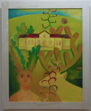 """6 Jolanta Nikt, """"Autoportret z jeleniem w Hadlach Szklarskich"""", 2011, olej na płótnie, wymiary 100x80 cm"""