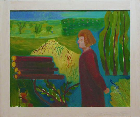 """7 Jolanta Nikt, """"Autoportret z polami"""", 2013, olej na płótnie, wymiary 100x120 cm"""