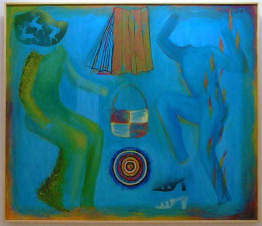 """9 Jolanta Nikt, """"Plisowanki i sukienki namiętności"""", 2004/2005, olej na płótnie, 110x100 cm"""