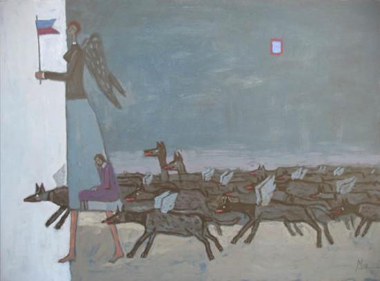 """Mikołaj Malesza, """"Wataha"""", 2010, akryl na tekturze, wymiary 50x70 cm"""