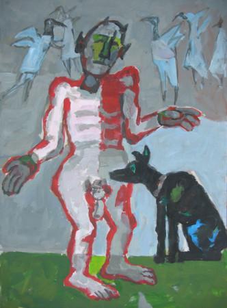 """Mikołaj Malesza, """"To nie jest taniec"""", 2008, akryl na tekturze, wymiary 70x50 cm"""