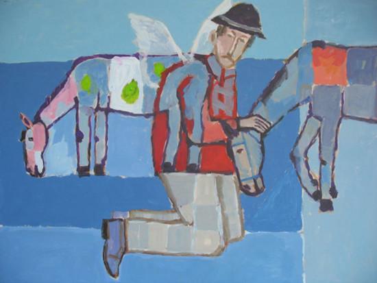 """Mikołaj Malesza, Z cyklu """"Konie"""", 2008, akryl na tekturze, wymiary 50x70 cm"""