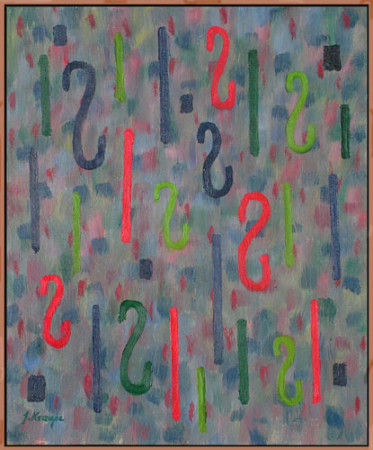 """Janina Kraupe-Świderska """"Pionowe rytmy"""", 2010, olej na płótnie, wymiary 64x54 cm, / NIEDOSTĘPNY"""