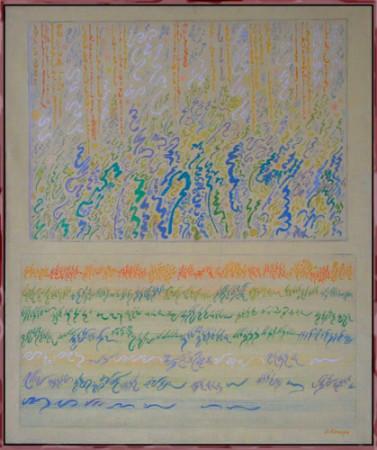 """Janina Kraupe-Świderska """"Słoneczny ogród"""", 1985, olej na płótnie, wymiary 100x86 cm"""