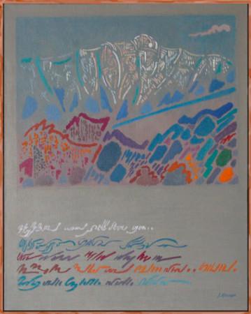 """Janina Kraupe-Świderska """"Biały szczyt"""", 1990, olej na płótnie, wymiary 1000x80 cm"""